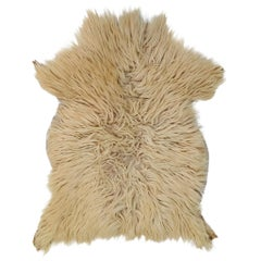 White Natural Angora Plush Sheepskin Accent Rug