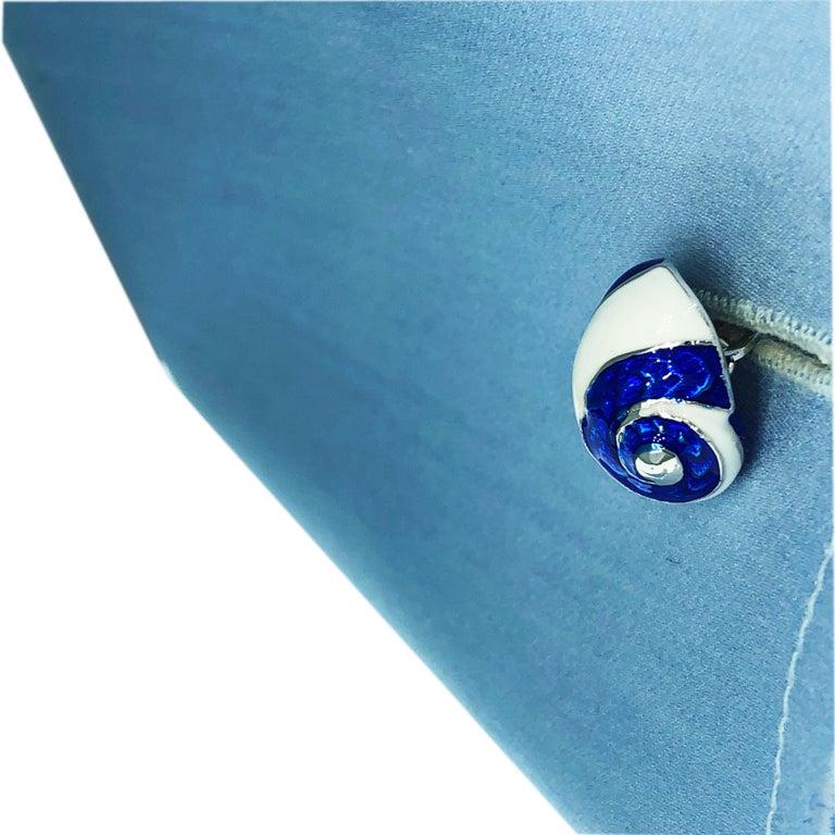 Berca White Navy Blue Hand Enameled Seashell Starfish Sterling Silver Cufflinks For Sale 7