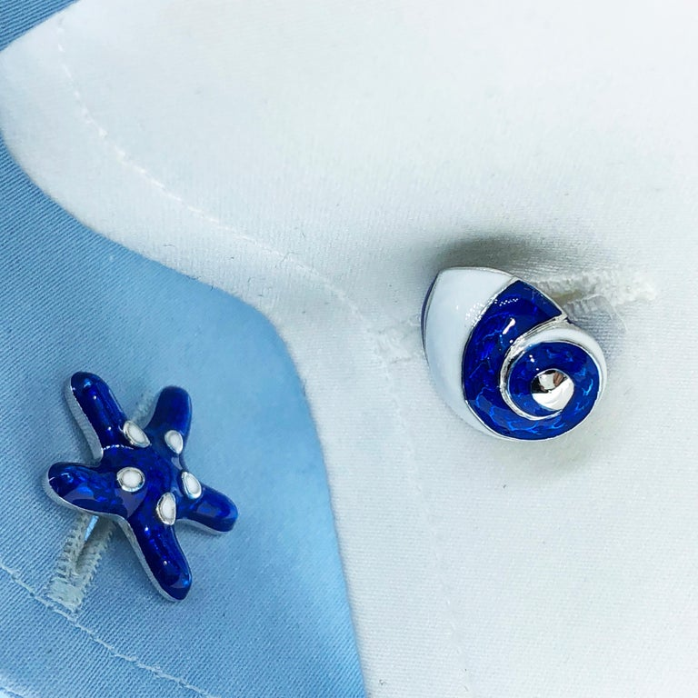 Berca White Navy Blue Hand Enameled Seashell Starfish Sterling Silver Cufflinks For Sale 8