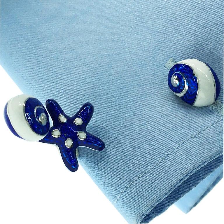 Berca White Navy Blue Hand Enameled Seashell Starfish Sterling Silver Cufflinks For Sale 9