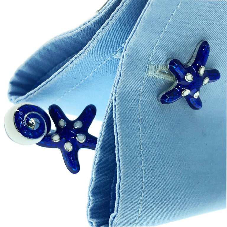 Unique, absolutely Chic, White and Navy Blue Hand Enamelled Starfish Seashell Shaped Sterling Silver Cufflinks. In our smart fitted black box and Pouch.