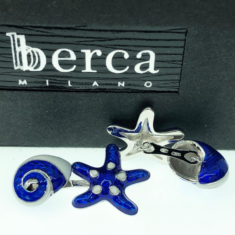 Contemporary Berca White Navy Blue Hand Enameled Seashell Starfish Sterling Silver Cufflinks For Sale