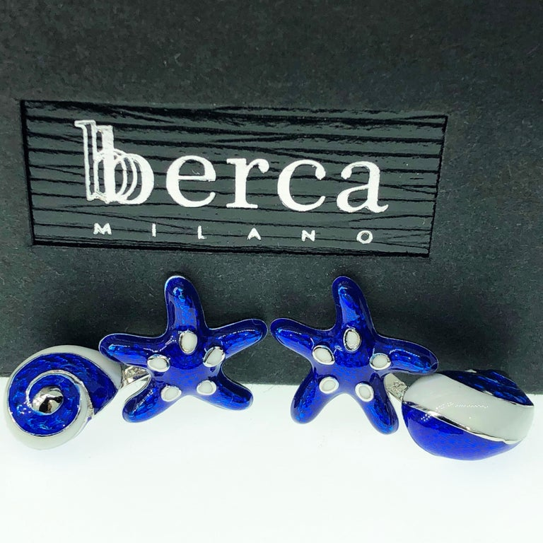 Women's or Men's Berca White Navy Blue Hand Enameled Seashell Starfish Sterling Silver Cufflinks For Sale