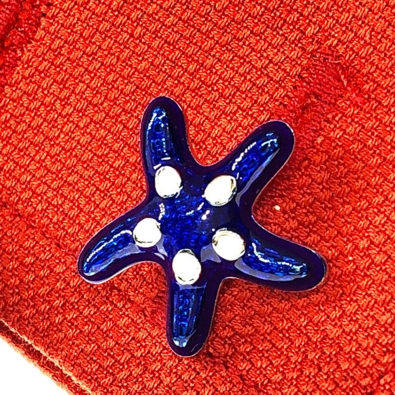 Berca White Navy Blue Hand Enameled Seashell Starfish Sterling Silver Cufflinks For Sale 1