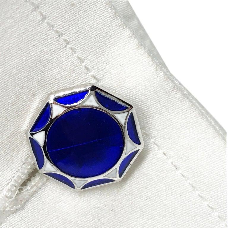 White Navy Blue Hand Enameled Sterling Silver Cufflinks T-Bar Back For Sale 6