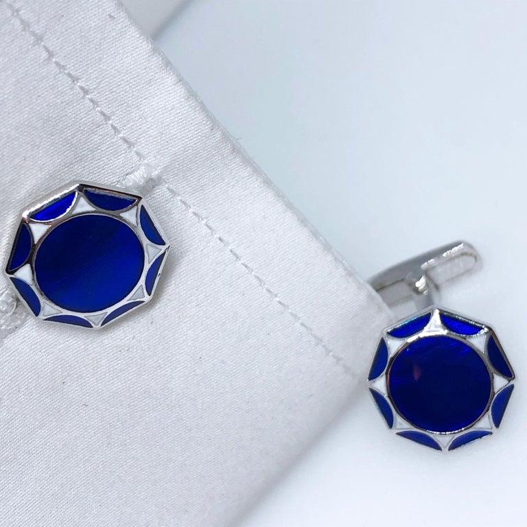 White Navy Blue Hand Enameled Sterling Silver Cufflinks T-Bar Back For Sale 7