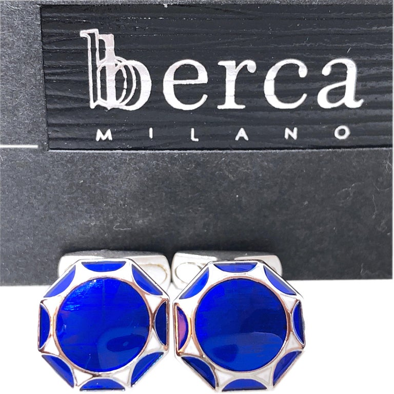 Chic yet Timeless Octagonal White, Navy Blue, Light Blue Hand Enamelled Sterling Silver Cufflinks, T-bar back. In our Smart Black Box.  Front Diameter about 0.55 inches.