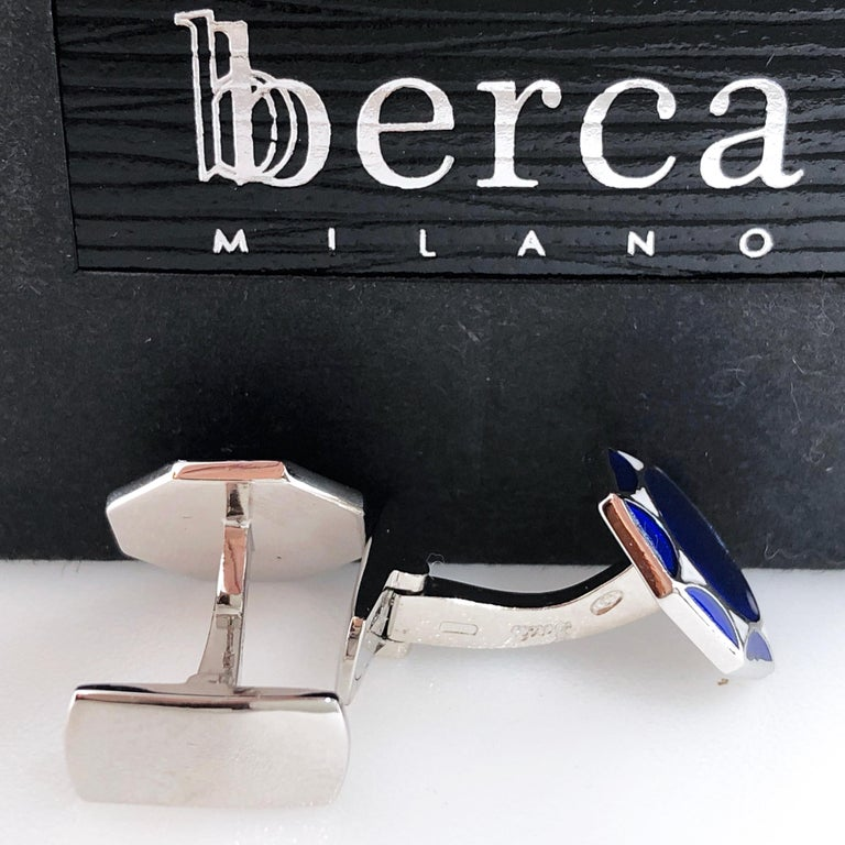 White Navy Blue Hand Enameled Sterling Silver Cufflinks T-Bar Back In New Condition For Sale In Valenza, IT