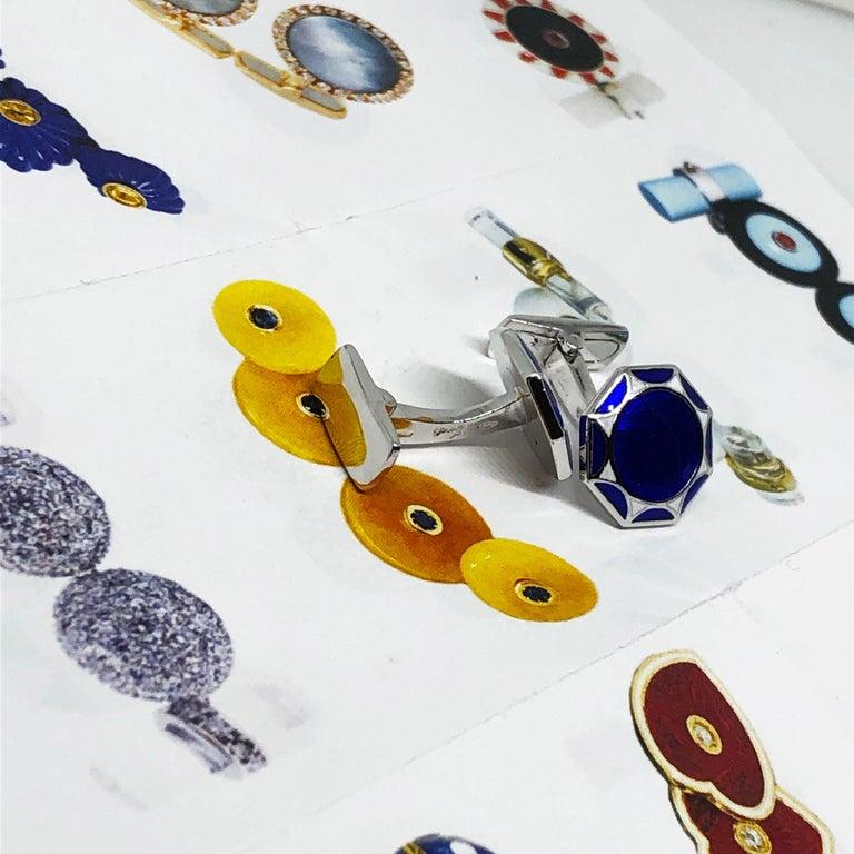 Men's White Navy Blue Hand Enameled Sterling Silver Cufflinks T-Bar Back For Sale