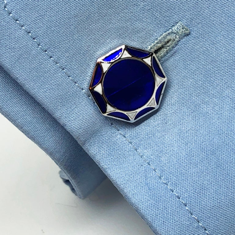 White Navy Blue Hand Enameled Sterling Silver Cufflinks T-Bar Back For Sale 3