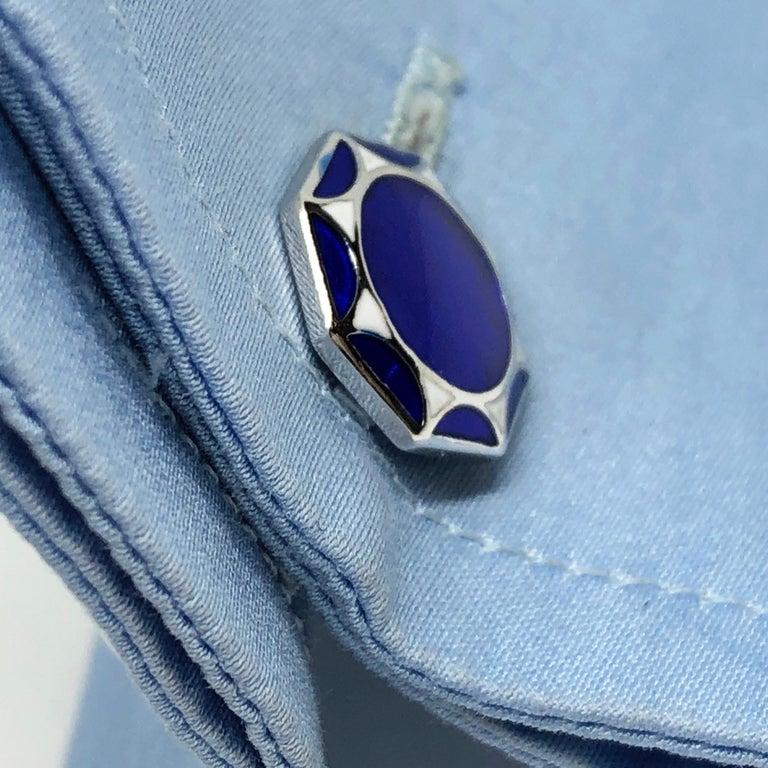White Navy Blue Hand Enameled Sterling Silver Cufflinks T-Bar Back For Sale 4