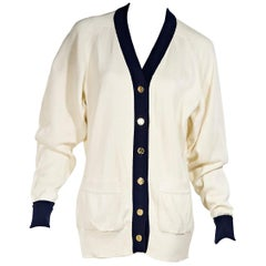 White & Navy Blue Vintage Chanel Cotton Cardigan