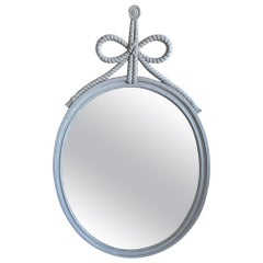 White Neoclassical Rope and Bow Style Painted Oval Mirror