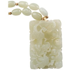 White Nephrite Necklace with Three-Dimensional Carving from Midcentury