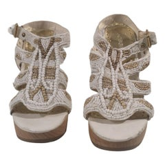 White nude beads sandals