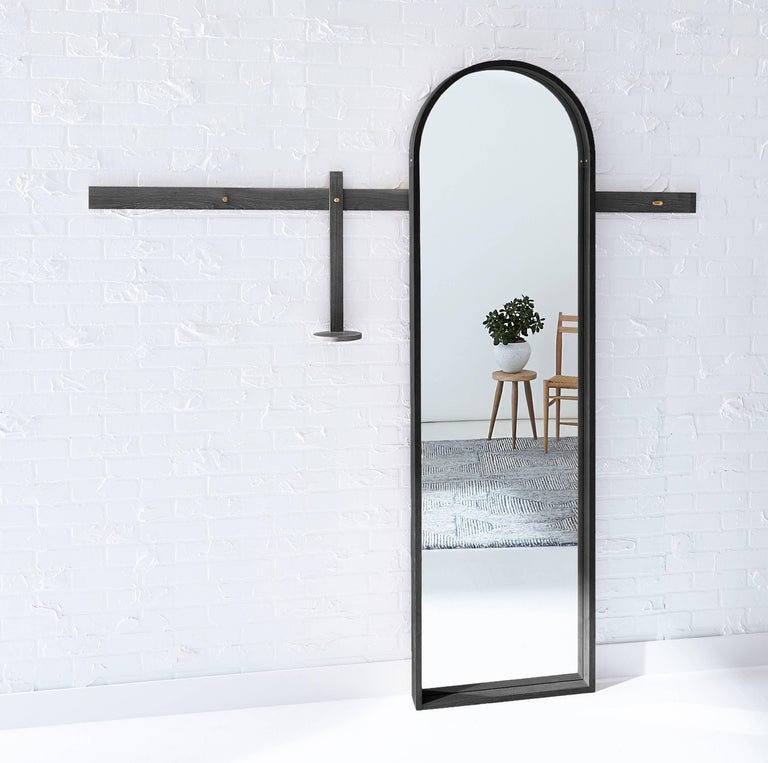 Shaker White Oak, Arched Full-Length Mirror by Coolican & Company For Sale