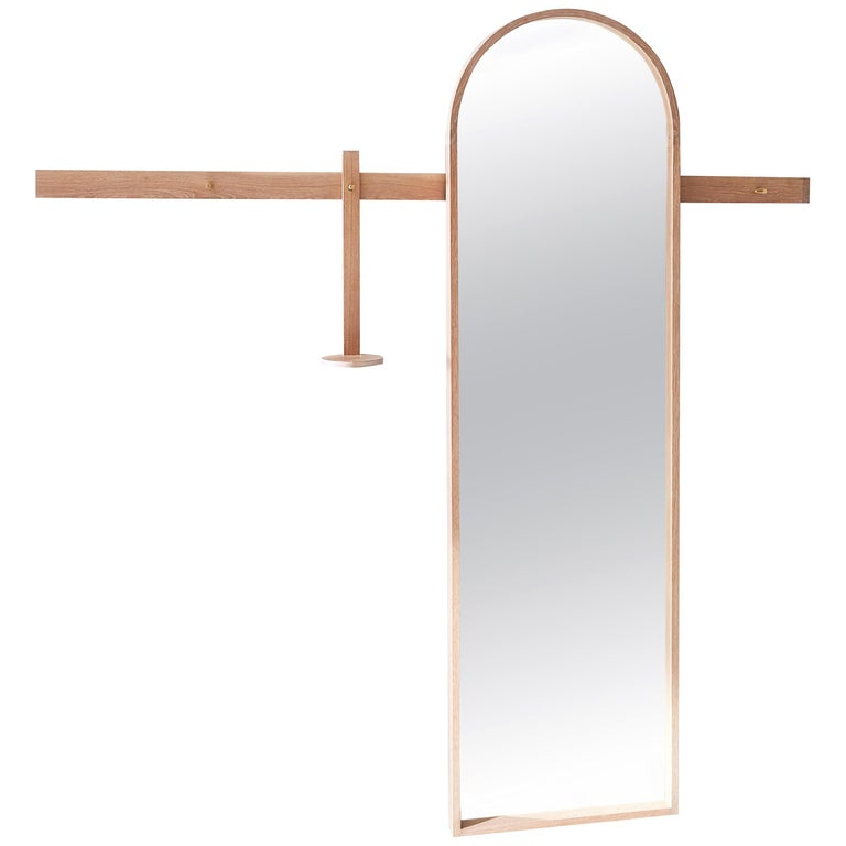 White Oak, Arched Full-Length Mirror by Coolican & Company For Sale