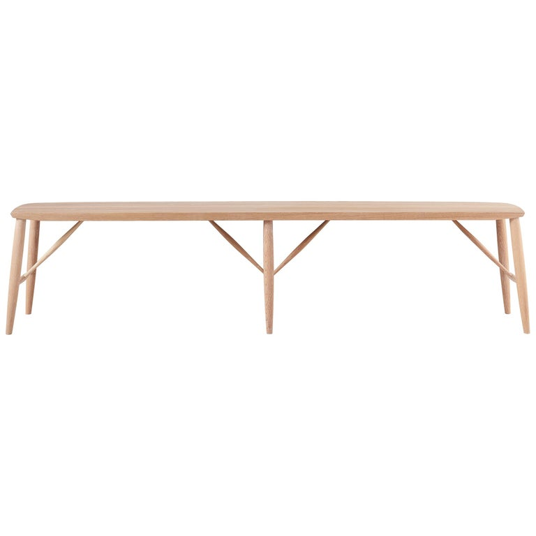 """72"""" White Oak Bench by Coolican & Company For Sale"""