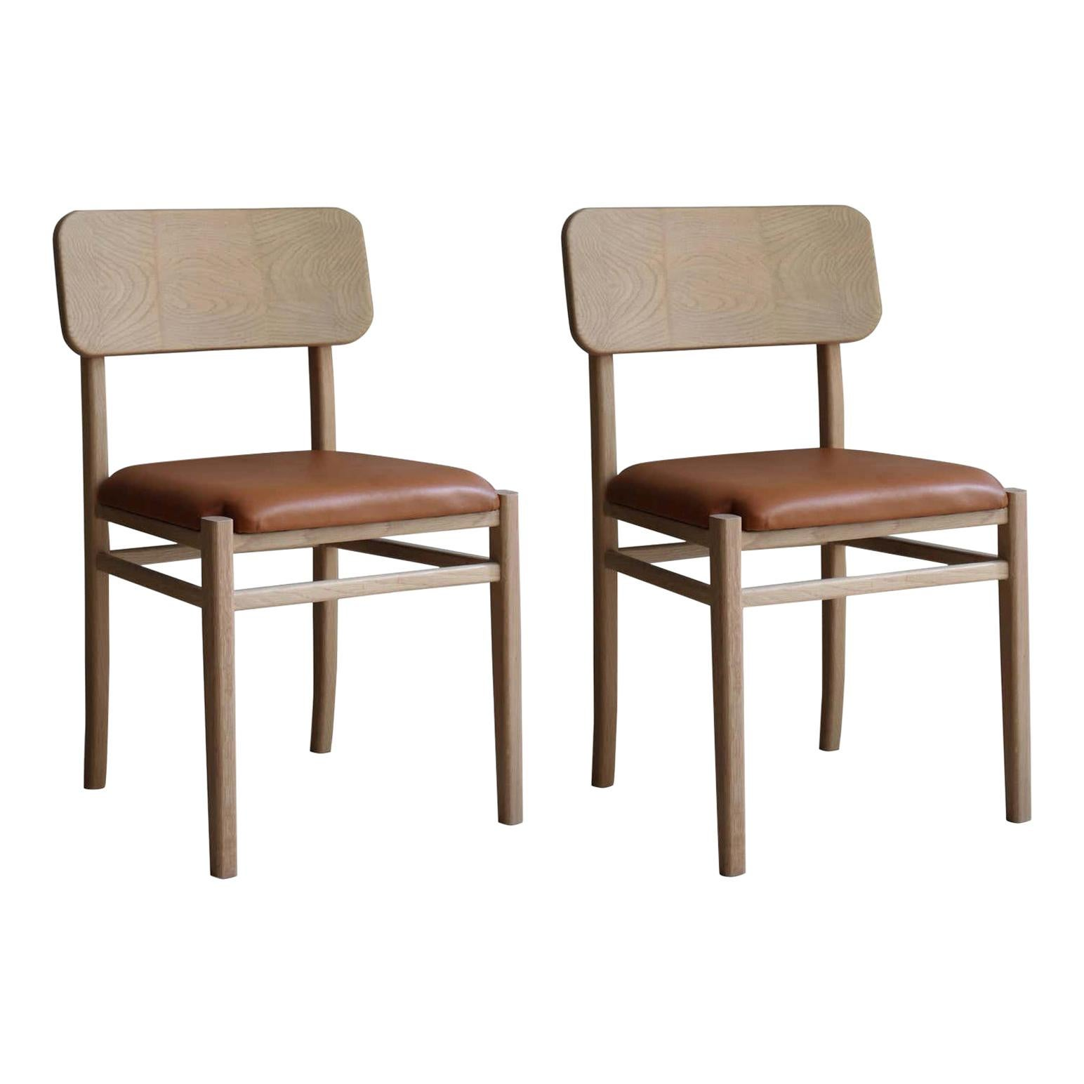 White Oak Chair Set with Leather Seat by Joel Escalona