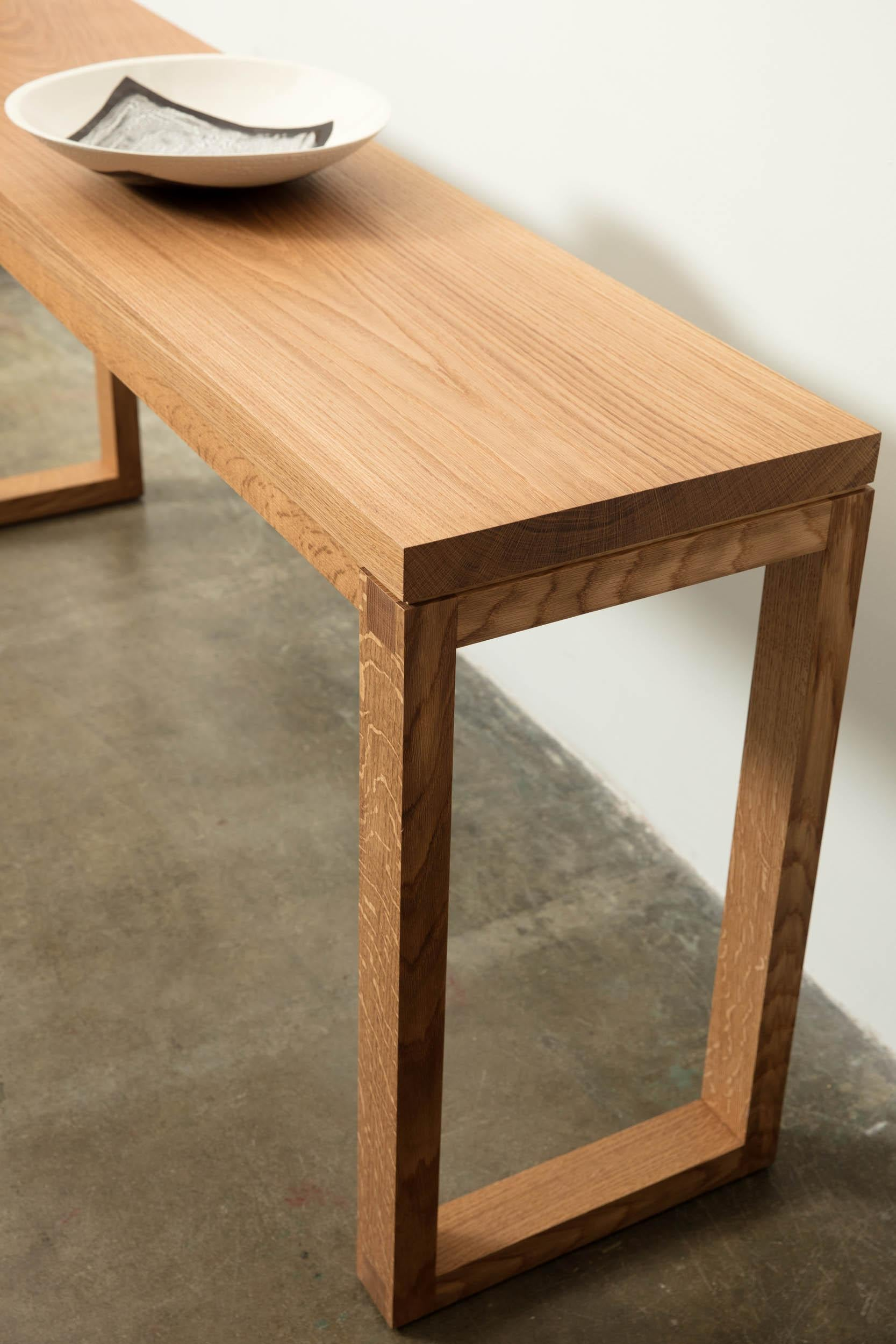 Picture of: Narrow Modern White Oak Wood Console Table Parsons Style By Alabama Sawyer For Sale At 1stdibs