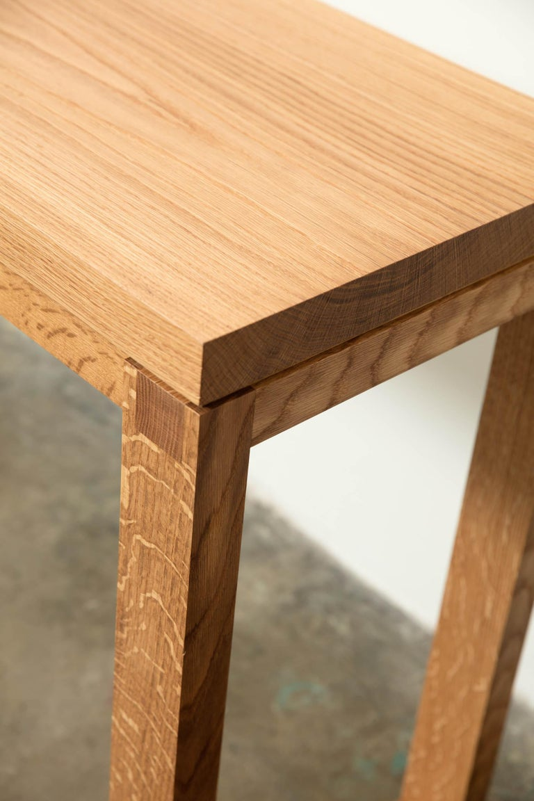 Narrow Modern White Oak Wood Console Table Parsons Style ...