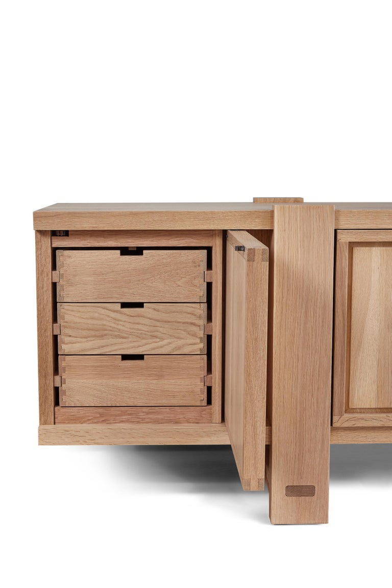 Contemporary White Oak Lake Cabinet / Credenza by August Abode For Sale
