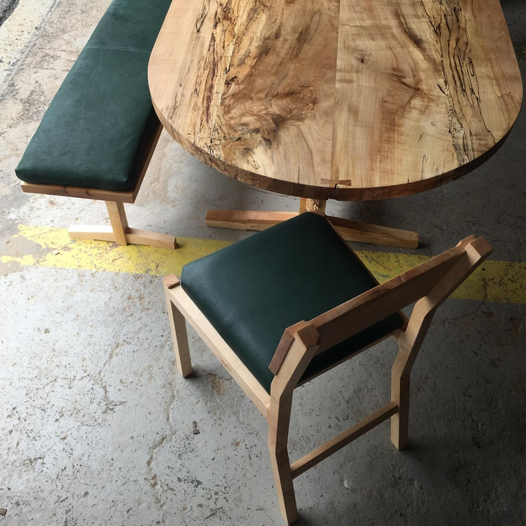White Oak Low-Trestle Wood Dining Table by New York Heartwoods In New Condition For Sale In Kingston, NY