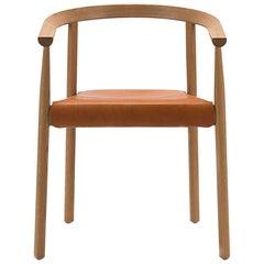 White Oak, Natural Leather Tokyo Chair, Bensen