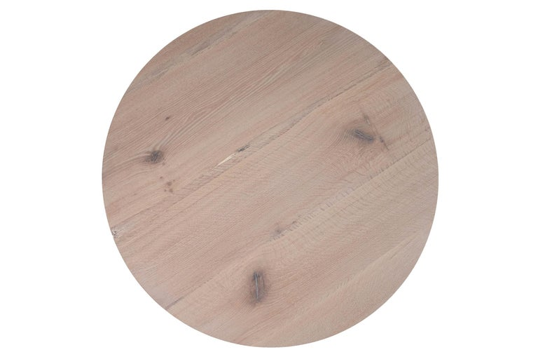American White Oak Round Table with Pewter by Alabama Sawyer For Sale