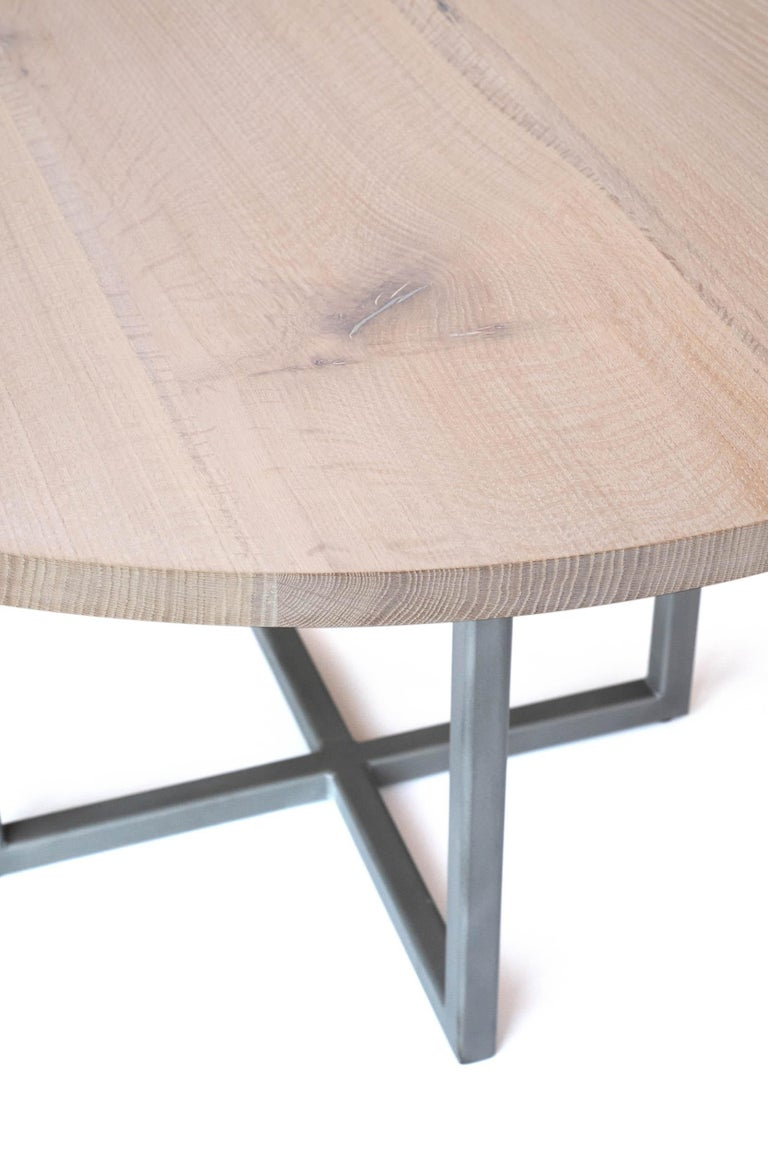 American Craftsman White Oak Round Table with Pewter For Sale