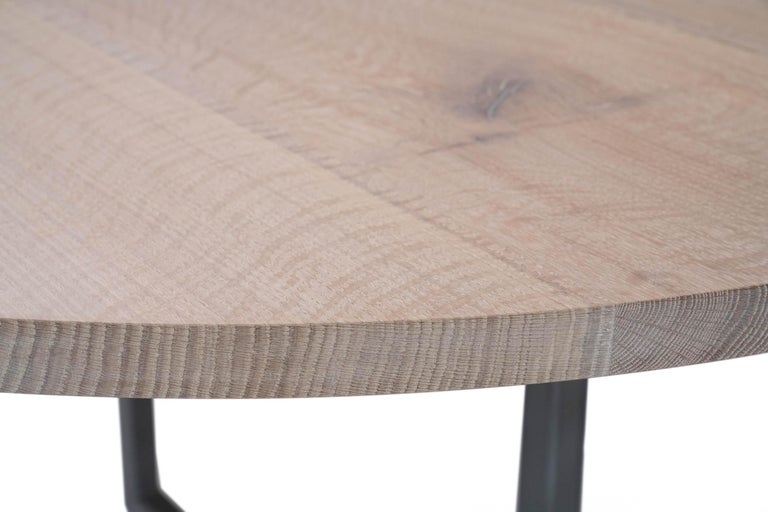 Woodwork White Oak Round Table with Pewter For Sale