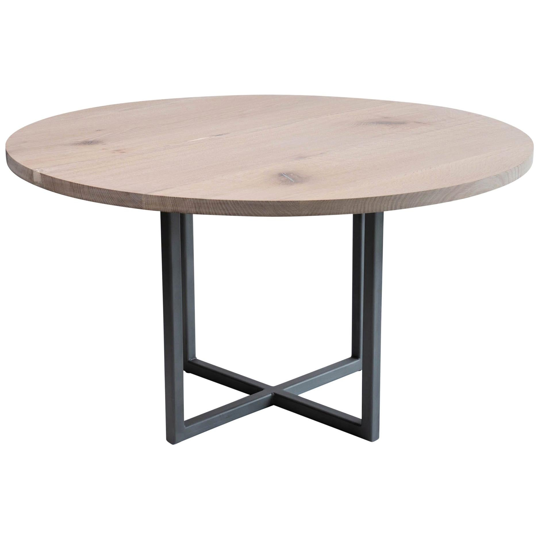 """36"""" Round Dining Table in White Oak and Pewter Inlays Modern Steel Pedestal Base"""