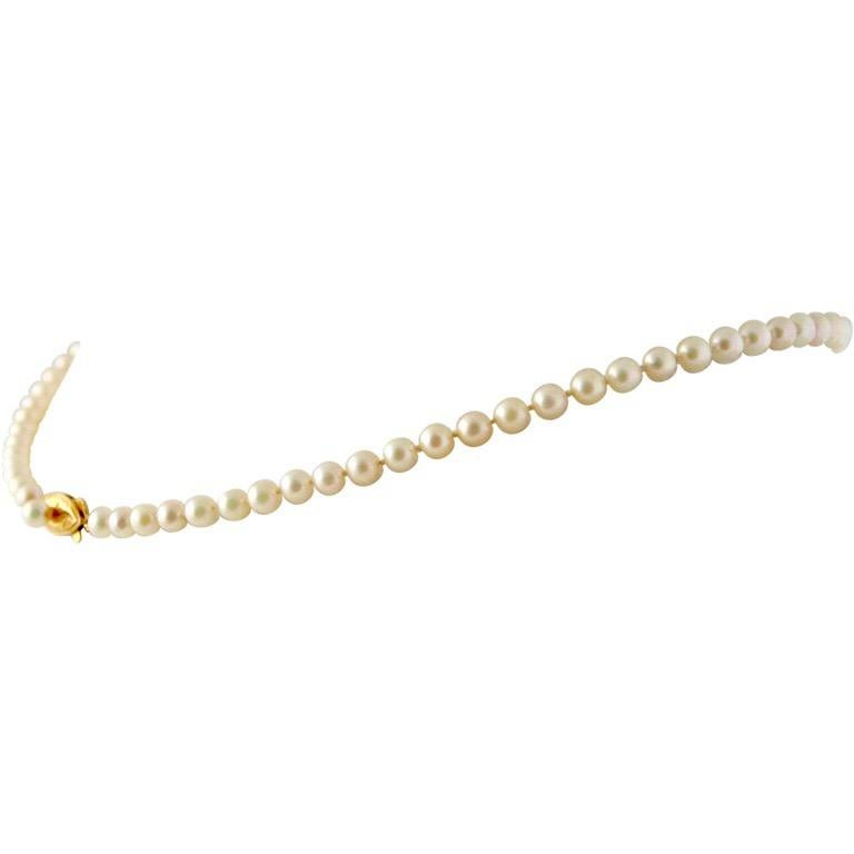 This white ocean pearl choker necklace with a 14K gold clasp holding a small pearl is 20th century heirloom quality. The necklace strand consists of fine quality exactly matched saltwater pearls. The color is warm creamy white. Pearl diameters are