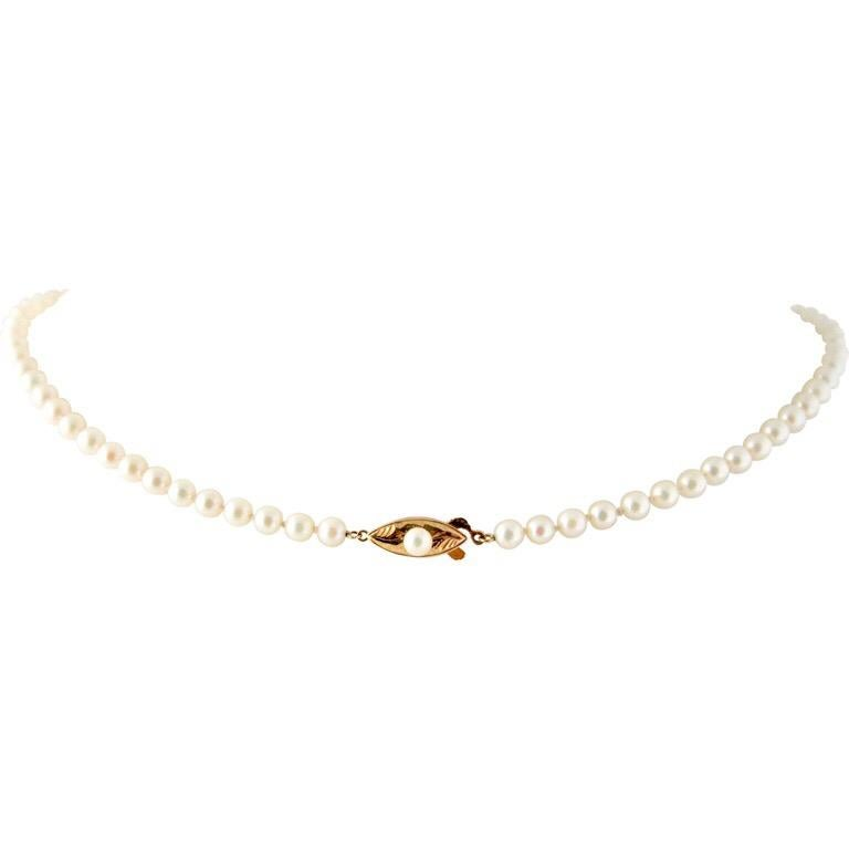 Modern Exolette White Ocean Pearl Choker Necklace with 14K Gold Clasp & Pearl For Sale