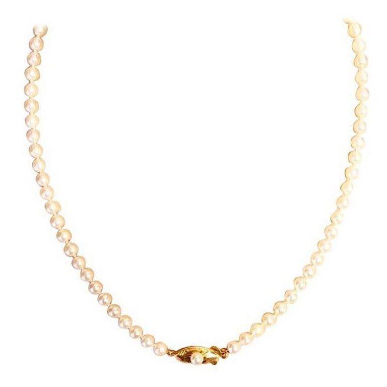 Exolette White Ocean Pearl Choker Necklace with 14K Gold Clasp & Pearl For Sale