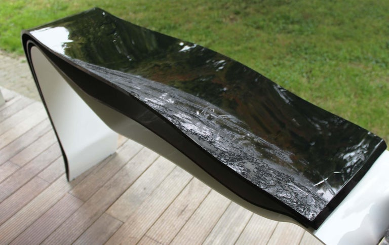 Italian White Ocean, White and Black Plexiglass Console Tables Limited Edition For Sale
