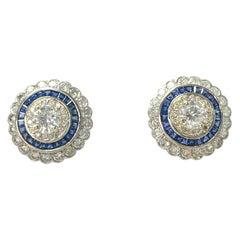 White Old European Cut Diamond and Blue Sapphire Stud Earrings in 18 Karat Gold
