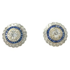 White Old European Cut Diamond and Blue Sapphire Stud Earrings in 18 Karat Gold