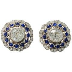White Old European Cut Diamond and Blue Sapphire Stud Earrings in Platinum