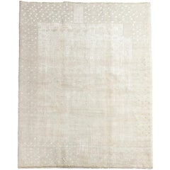 White on White Wool and Silk Area Rug with Tone on Tone Art Deco Design