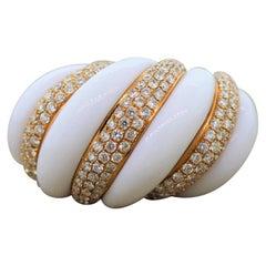 White Onyx Diamond Gold Cocktail Ring