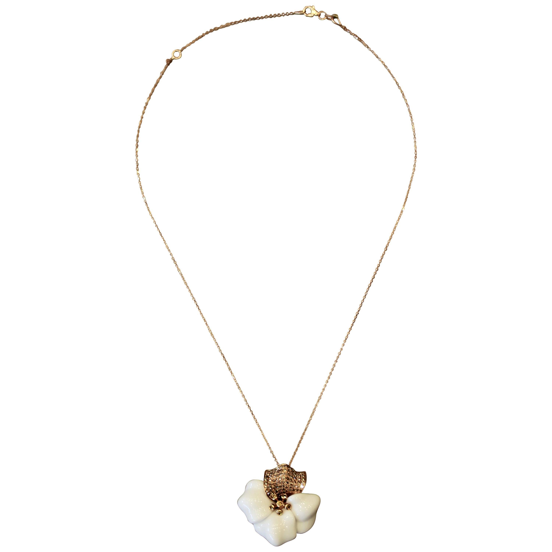 White Onyx Diamond Gold Flower Pendant Necklace