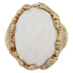 White Onyx Diamond Gold Ring