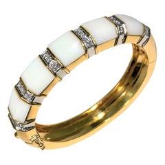 White Onyx, Gold and Diamond Bangle
