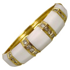 White Onyx Gold and Diamond Bangle