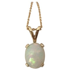 White Opal 1.38 Carat Oval Cabochon Cut Yellow Gold Solitaire Pendant Necklace