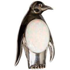 White Opal 17.57 Carat, Diamond and White Gold Penguin Brooch