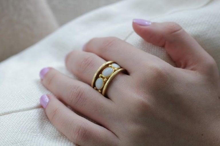 White Opal 22 Karat-21 Karat Gold Bezel Band Fashion Ring One-Of-A-Kind  For Sale 6