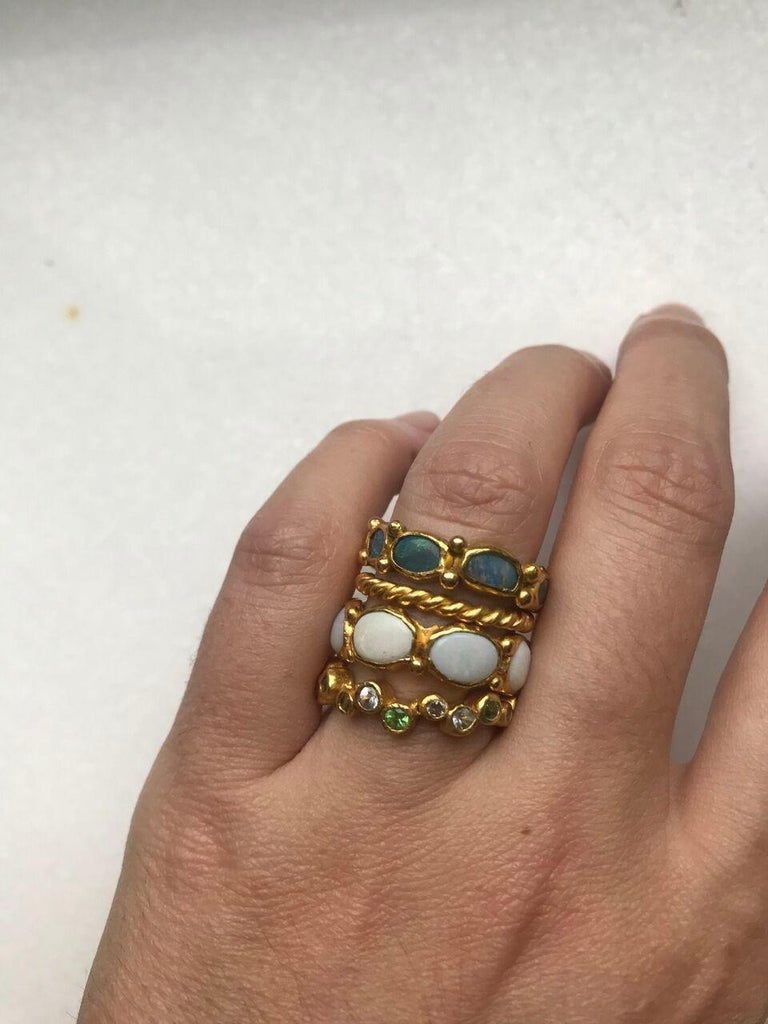 White Opal 22 Karat-21 Karat Gold Bezel Band Fashion Ring One-Of-A-Kind  For Sale 8