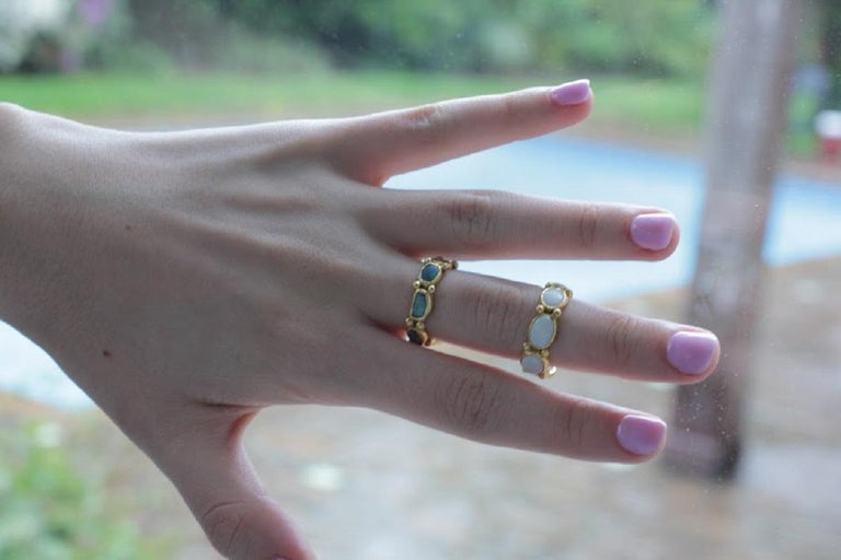 White Opal 22 Karat-21 Karat Gold Bezel Band Fashion Ring One-Of-A-Kind  For Sale 3